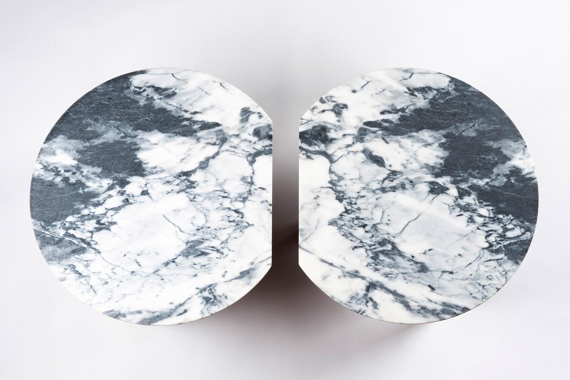 Tables basses Echo chêne et marbre allégé