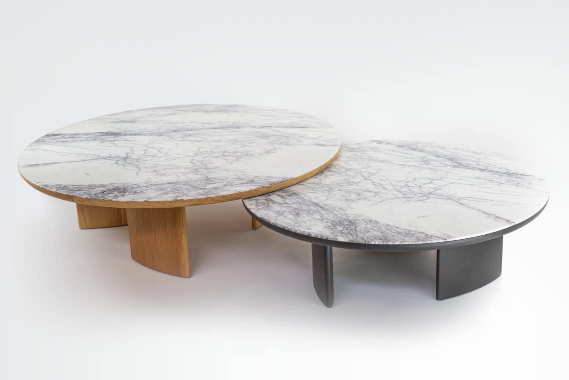 Tables basses Sélénè chêne et marbre allégé