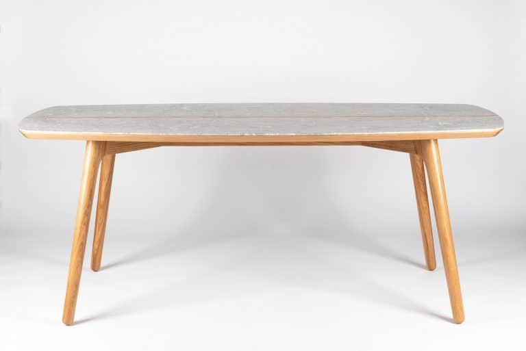 Table Narcisse chêne et marbre allégé