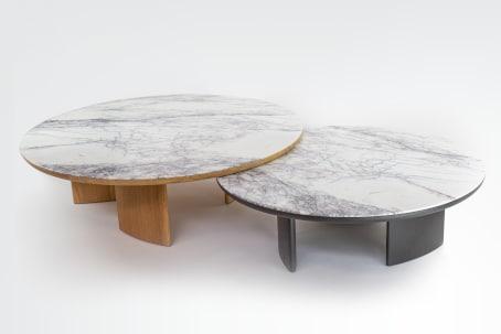 Tables basses Sélénè chêne et marbre